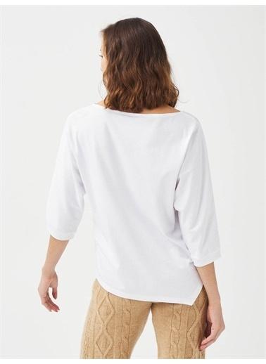 Xint XINT Yuvarlak Yaka %100 Pamuk Rahat Kesim Baskılı Tişört Beyaz